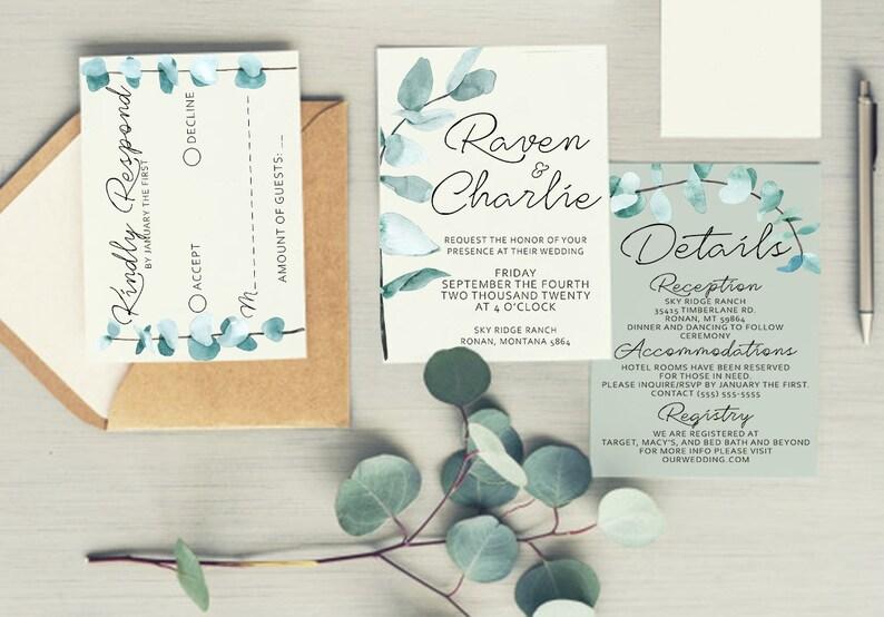 printable wedding invite set Eucalyptus greenery wedding invitation template invitation suite printable wedding invitations