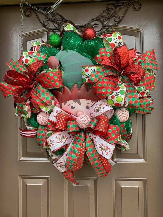 Winter Wreath Front Door Wreath Elf Wreath Christmas Wreath, Christmas Wreath