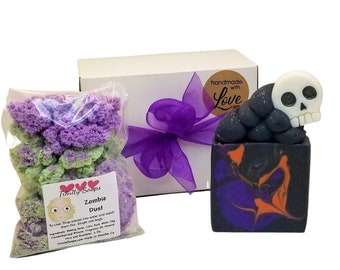 Halloween soap gift box set, for kids, zombie bath bomb dust, homemade, fall, skeleton, fruit cereal food soaps, cold process soaps
