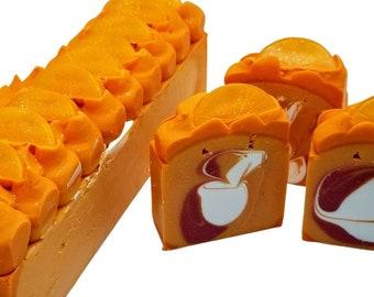 Blood Orange, homemade cold process soap made with aloe vera and coconut milk, handmade artisan soaps, citrus