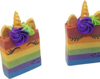 Rainbow unicorn bar soap, gift for girls, bathroom decor, homemade artisan novelty soaps, cold process, birthday gift, handmade