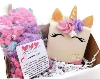 BATH BOMB dust, unicorn soap, cold process, bubble bath powder bathbombs, bathbomb, stocking stuffers, kids gift set, girls birthday box