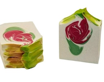 Homemade soap, mint and raspberry, cold process goat milk soaps