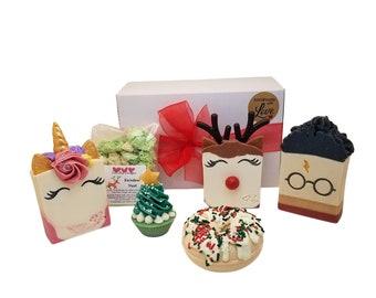 Christmas gift box set, tree cupcake, unicorn, cat, harry pottery, Rudolph deer, homemade soap, bath bomb dust, donut bombs, for kids, women