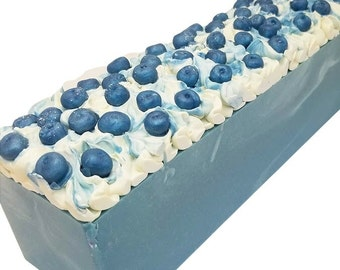 Blueberry, goat milk soap, homemade bar, artisan cold process soaps with TALLOW,  palm free, food soaps, fruit