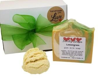 Homemade soap gift box set, bath truffle, bubble, lemongrass essential oil, natural goat milk soaps, gifts for women
