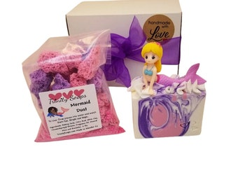bath bombs, dust, Mermaid soap for kids, bombs, Homemade soap, stocking stuffers, birthday gift box set for girls, toy gifts, cold process