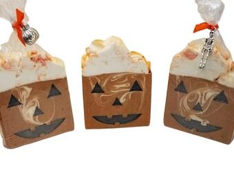 homemade soap, goat milk, pumpkin cider fall and autumn decor, homemade cold process artisan soap, palm free