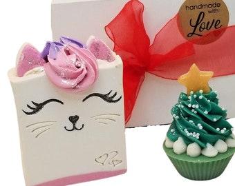 Homemade soap, kitty cat, Christmas Tree cupcake soap, cold process, gift for girls, mom, kids,  stocking stuffers, box set, kitten