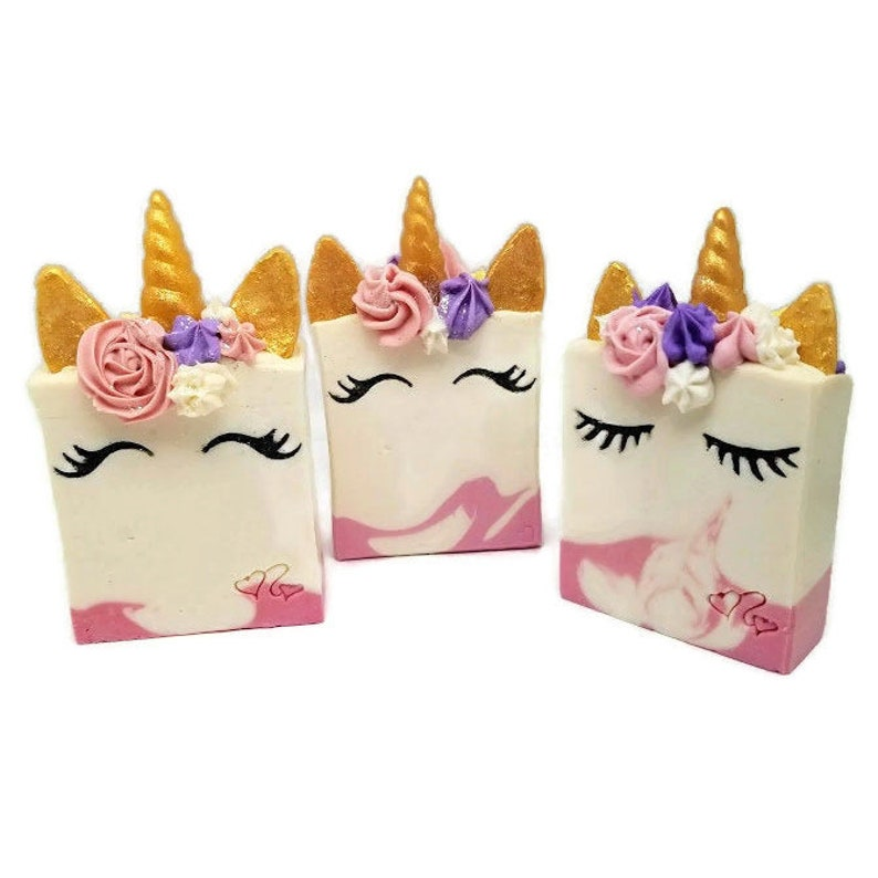 Unicorn soap gift rainbow soaps horn for kids party image 0
