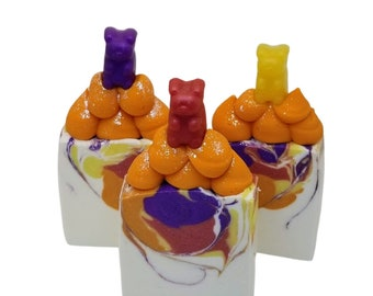 LARGE Gummy bear soap for kids, full size bars, goat milk, Homemade natural novelty soaps, cold process, great for stocking stuffers