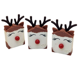 Christmas soap, homemade Rudolph Reindeer soaps, natural, cold process, peppermint, for kids stocking stuffers, unique novelty gift