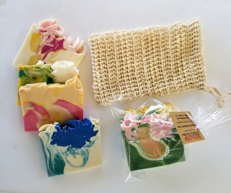 Soap bag pouch soap saver with homemade soaps goat milk image 0