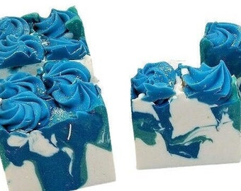 Turquoise, homemade cold process coconut milk soap, vegan, clean type scent