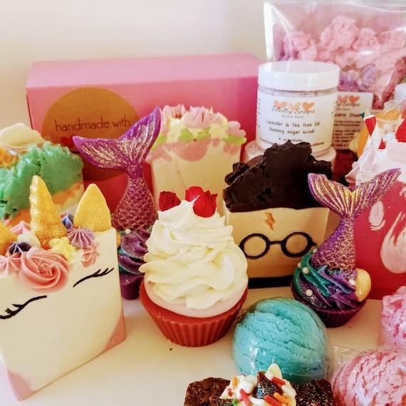 Mystery box, beauty soap gift basket, homemade, kids Surprise, unicorn  soaps, bath bomb Mermaid, lotion, vegan unique gifts, hufflepuff