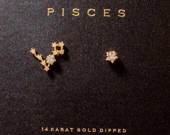 Pretty Aguamarina Piedras Preciosas Peces encanto Dangly Pendientes-Piscis
