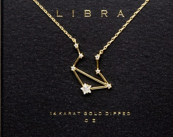 Libra Sign Constellation Necklace with Crystals, Celestial Jewelry Zodiac Sign Necklace, Star Dainty Necklace, Bridesmaids Gift, Zodiacs