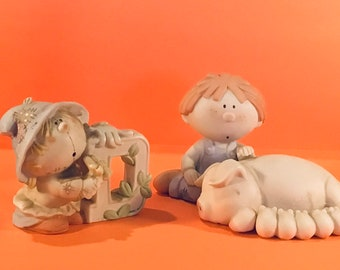 Two Collectible Country BUMPKINS FIGURINES - Giftable