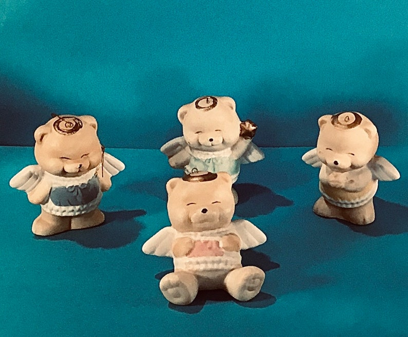 Giftable Very Vintage Collectible Set of Four Christmas Bear Angels Figurine Tree Ornaments
