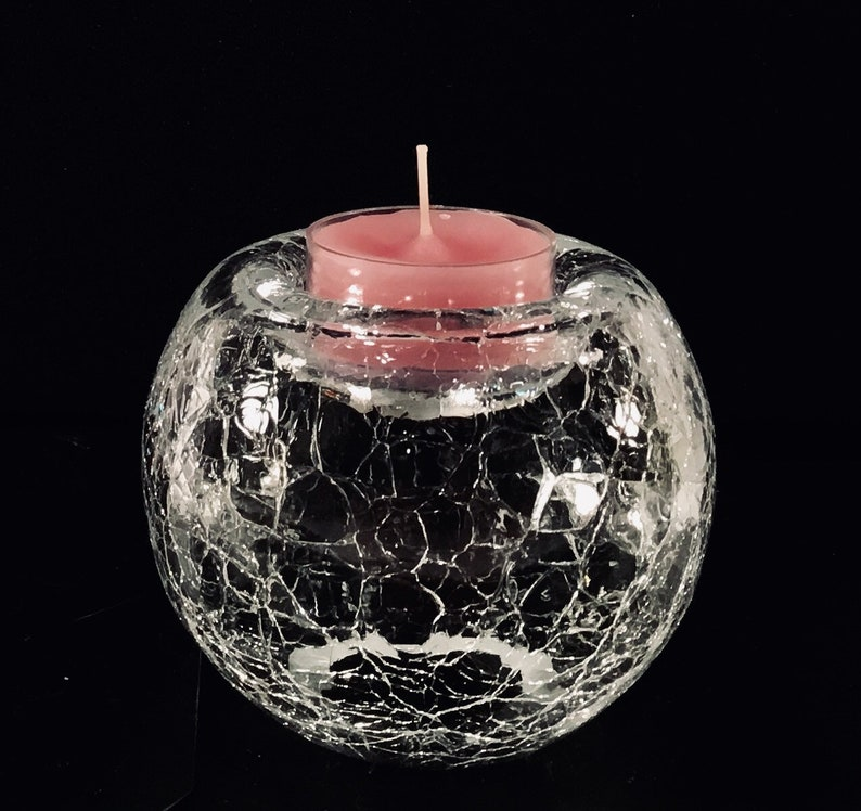 CHIME CANDLE HOLDER SWIRL CUBE FROSTED GLASS HOME DECOR