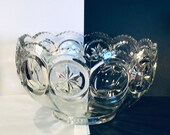 Vintage L E SMITH Tiffin Franciscan Moon and Stars Glass Bullseye Punch Bowl - Giftable