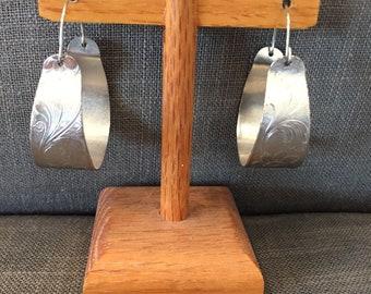 1940's vintage silve hoop earings