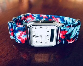 Casio Analog/Digital Hybrid Watch with Blue Tropical Flowers Nato Strap -  technologically minimalistic watch