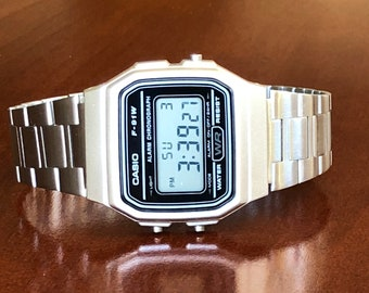 Silver Casio on Stainless Steel band with Gold Accents - Minimalistic watch