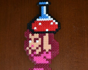 "Super Mario Bros. 2 ""Princess Toadstool"" Perler Sprite/Nintendo Fan Art/Video Game Decor/Mario Birthday Decorations/gifts"