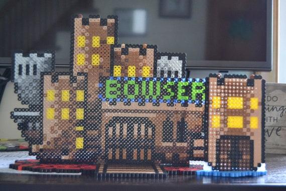 Super Mario World Bowser S Castle With Back Door 3 D Perler Sprite Display Bowser Castle Fan Art Mario Birthday Decor Gifts