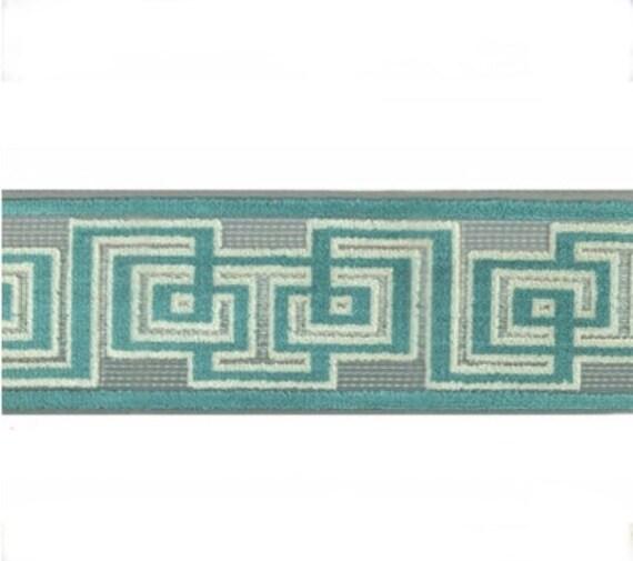 Designer fretwork Trim By the Yard aqua blue Tape Velvet Embroidered Athena Chinoiserie ribbon Gimp Drapery Home Decor Craft geometric