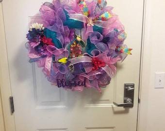 Front door wreath. Summertime  Deco mesh wreath. Bird house deco mesh wreath