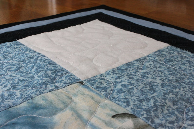 33x33 Black and White Sparkly Penguins Square Quilted Wall HangingTable RunnerBed Topper Handcrafted Blue