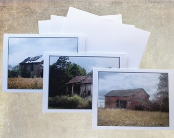 Set of three blank Greeting Cards with Old Barns.  set 3