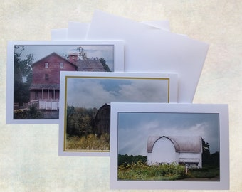 Set of three blank greeting cards with Old Barns. set 1