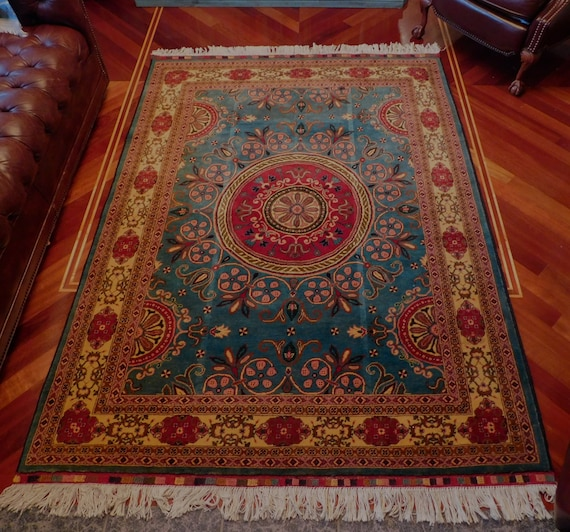 Hand Knotted Wool Rug Made In Pakistan Etsy