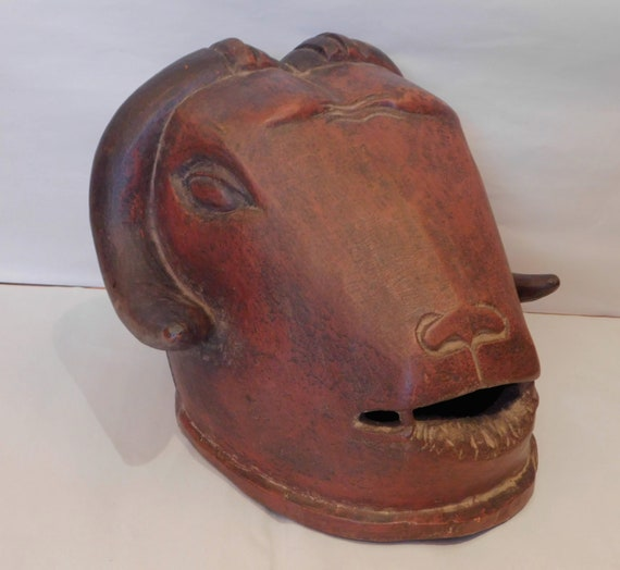 African Bull Musk Ox Wooden Head Mask Primitive