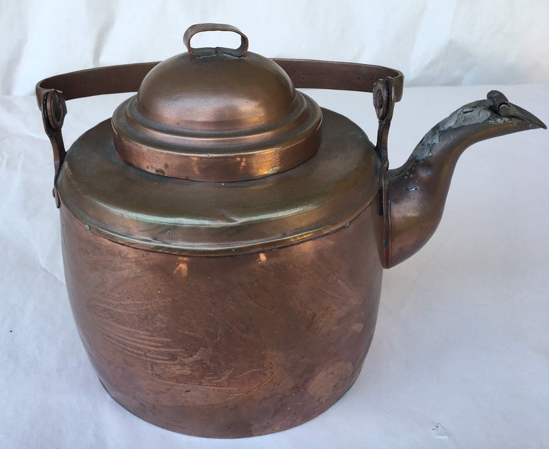 Copper Teapot Fiskars Brought Out of Occupied Finland 1940s