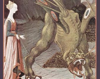 """Jeune fille, vous avez obtenu ce - Dragon et princesse carte de voeux avec enveloppe - 5 """"X 7» (Vierge à l'intérieur)"""