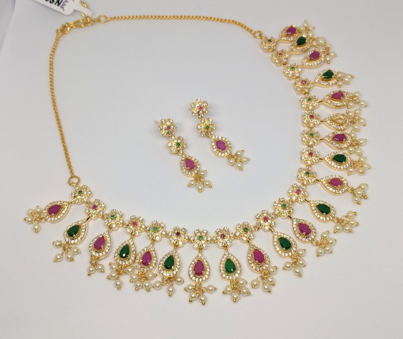 CZ ruby and emerald necklace set | Imitation jewelry | Indian bridal  jewelry | Artificial jewelry