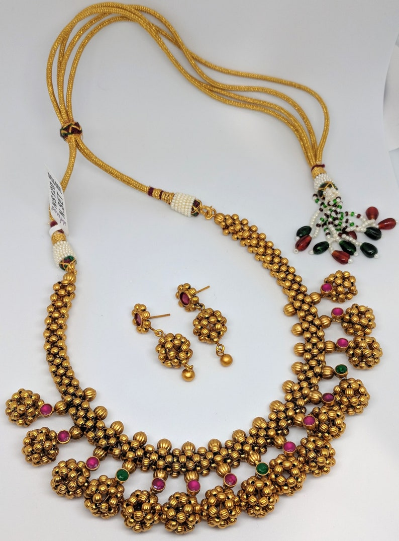 Matte finish balls necklace set | Imitation jewelry | Indian bridal jewelry  | Artificial jewelry