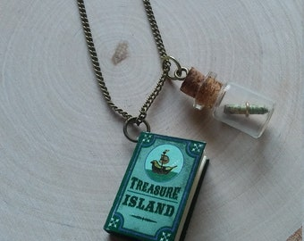 Treasure Island necklace with corkscrew message in a bottle