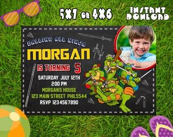 Ninja Turtles Invitation,Ninja Turtles Birthday,Ninja Turtles Birthday Invitation,Ninja Turtles Party Invitation,Ninja Turtles Party-F0251
