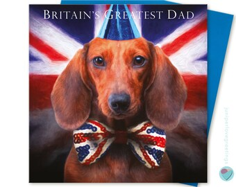 22449f264 Dad Birthday or Father's Day Card pedigree puppy Dachshund sausage Dog Dad  greeting card to from dog lover men for him by Juniperlove UK