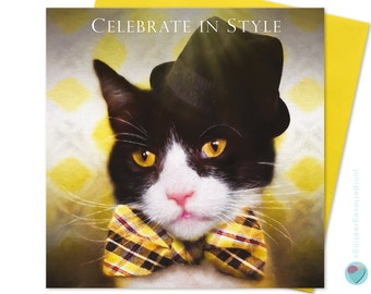 1184c048f36f2 Tuxedo Cat Birthday Card Dad Brother Uncle Nephew Black and White Cat lover  Peaky Blinders Style Bow Tie UK designer WORLDWIDE DELIVERY