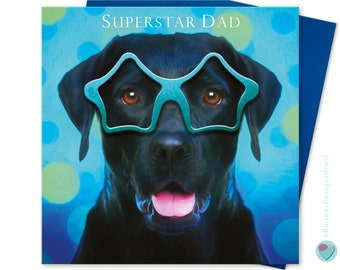 3586a6668 Father's Day Card Black Labrador retriever Dog Dad Birthday card to from dog  lover men man boys for him SUPERSTAR DAD by Juniperlove UK
