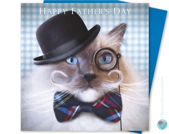 8764851d9d2562 Father's Day Card Ragdoll Cat wearing bowler hat monocle ideal for Natty  Dapper dresser Gent to from Ragdoll cat Kitten lover juniperlove