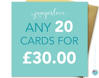 You can pick ANY 20 cards from my shop christmas birthdays anniversary any occasion (excluding personalised cards) by Juniperlove Greetings