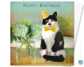Tuxedo Cat Birthday Card HAPPY BIRTHDAY Black and White Kitten Lover Gender Neutral Girls or Boys Juniperlove UK Greetings Worldwide Post