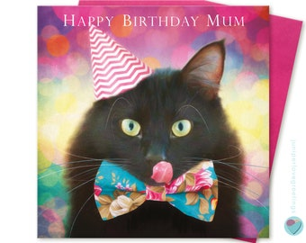 Mum Birthday Card Black Cat Kitten Lover uk Greeting Post Card Worldwide delivery HAPPY BIRTHDAY MUM to from the cat lover by Juniperlove